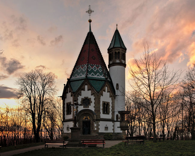 Sunset at Letzenberg pilgrimage chapel near Malsch, Germany Chapel Church Faith Architecture Belief Building Built Structure Cloud - Sky No People Outdoors Place Of Worship Religion Sky Spire  Spirituality Sunset First Eyeem Photo