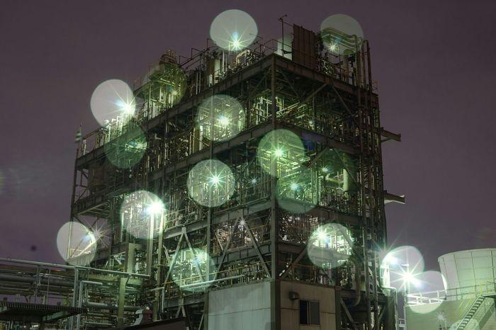 ファインダー越しの私の世界 写真好きな人と繋がりたい 工場夜景 たまボケハンター Nightshot kawasgki,japan EyeEm Gallery Night View 多重露光 多重露光部