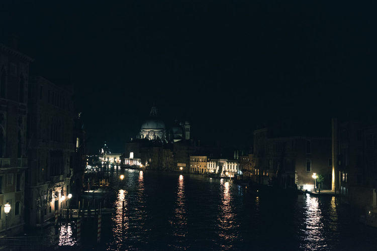 Architecture Building Building Exterior Built Structure City Clear Sky Copy Space Illuminated Nature Nautical Vessel Night No People Outdoors Place Of Worship Reflection River Sky Venice Water Waterfront