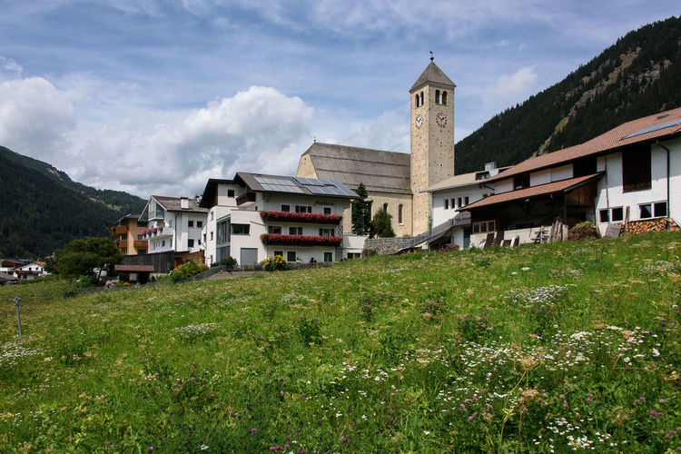 Architecture Building Building Exterior Built Structure Day Grass House Italy Land Mountain Nature No People Outdoors Plant Residential Building Residential District Sky South Tyrol Val Venosta Village Vinschgau