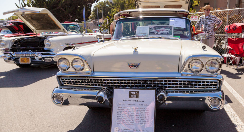 Laguna Beach, CA, USA - October 2, 2016: White 1959 Ford Galaxie owned by Wayne Mac Cartney and displayed at the Rotary Club of Laguna Beach 2016 Classic Car Show. Editorial use. 1959 Car Car Show Cars Classic Car Classic Car Show Day Ford Galaxie  Old Car Outdoors Transportation Vintage Car