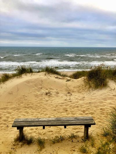 EyeEm Best Shots - Nature EyeEm Nature Lover First Eyeem Photo Water Sea Land Beach Sky Cloud - Sky Beauty In Nature Tranquility Nature Bench Horizon Over Water Sand Horizon Tranquil Scene Scenics - Nature Seat Wood - Material Day Outdoors Park Bench