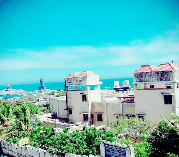 Residential Area High Angle View Southindia Seaside Sea Adapted To The City