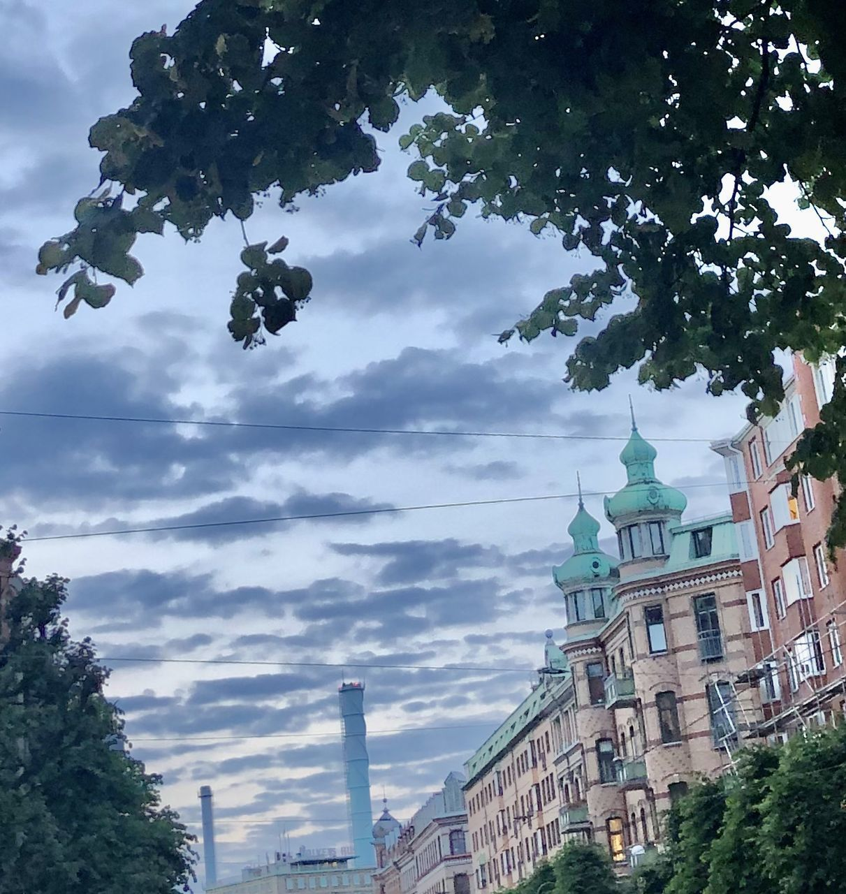 LOW ANGLE VIEW OF BUILDINGS AND TREES AGAINST SKY