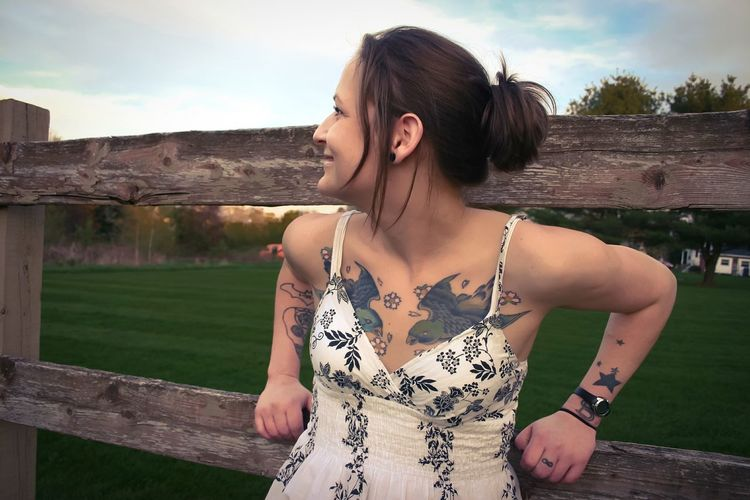 tatted Tattoo Tattoos Colorful Profile EyeEm Selects Young Women Standing Fashion Sky Sleeveless Dress Sundress Lawn Hippie Thoughtful This Is Strength