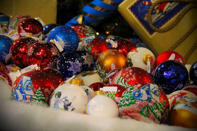 High angle view of baubles for sale at store
