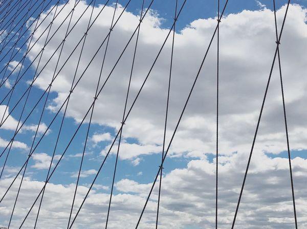 Cloud - Sky Sky Low Angle View No People Blue Outdoors Nature Day Mast Architecture Lines Geometric Shape Bridge Urban Geometry Brooklyn Brooklyn Bridge / New York Brooklyn Bridge  New York New York City NYC Manhattan