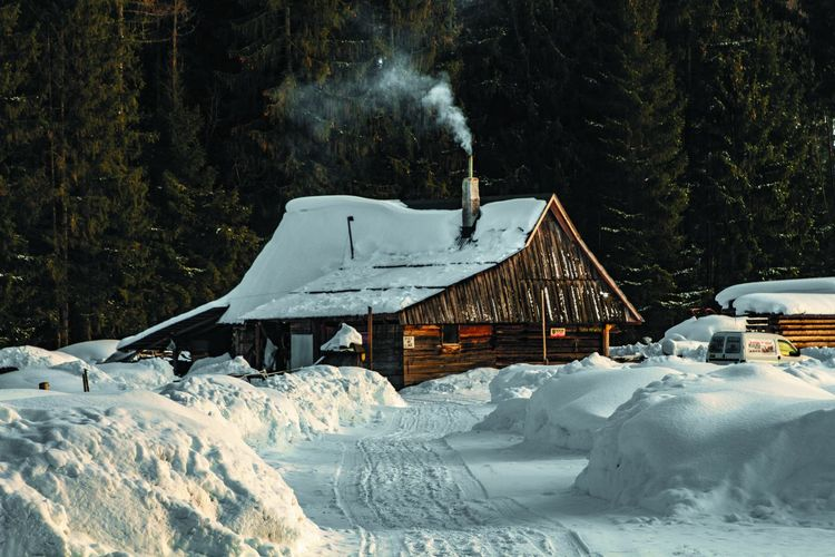 Snow Cold Temperature Winter Tree Nature Land Covering Frozen Day Plant No People Beauty In Nature Forest Architecture Built Structure White Color Scenics - Nature Mode Of Transportation Wood - Material Outdoors Snowcapped Mountain My Best Photo