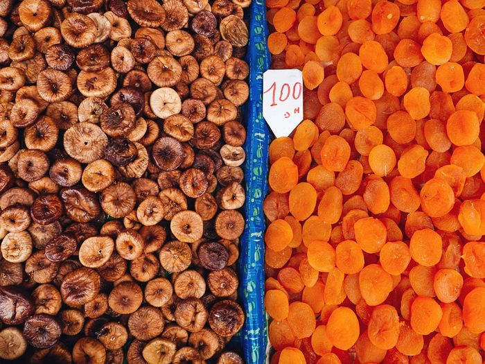 High Angle View Of Figs And Apricots For Sale