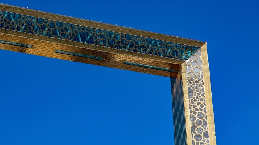 Dubai Frame Blue Sky Clear Sky Architecture Low Angle View Built Structure No People The Architect - 2018 EyeEm Awards
