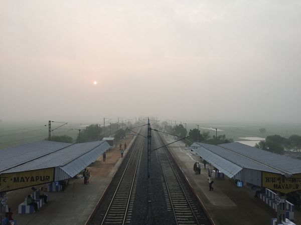Perspective Photograph of Railway Track taken from Drone Aerial Shot Drone  India Perspective Perspectives Railroad Track Train Tracks Above The Ground Aerial Aerial Photography Aerial View Dronephotography Droneshot Landscape Rail Rail Lines Railway Line Railway Track Sunrise Train Line Vanishing Point Postcode Postcards