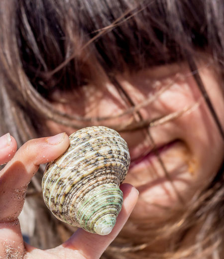 Close-up of woman holding shell
