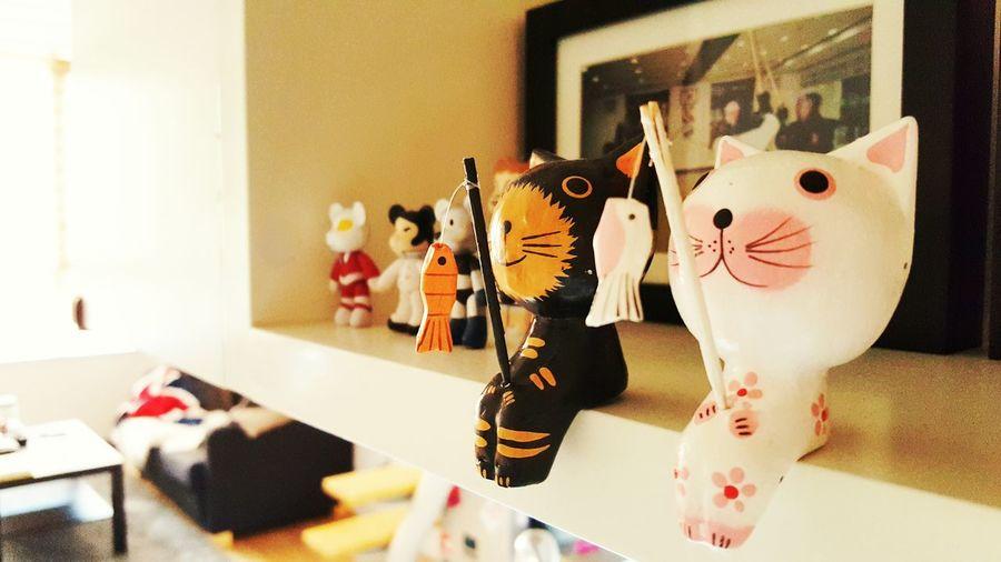 Fishing Cats Dolls Cute Relaxing Enjoying Life Home Sweet Home