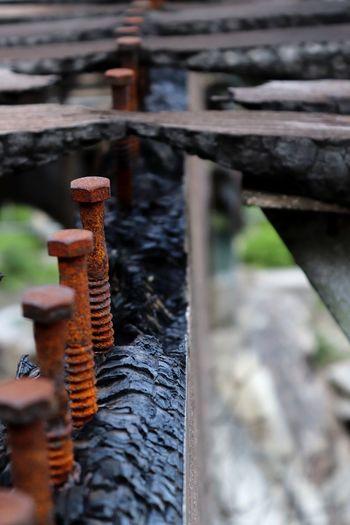 Close-up of rusty metal railing