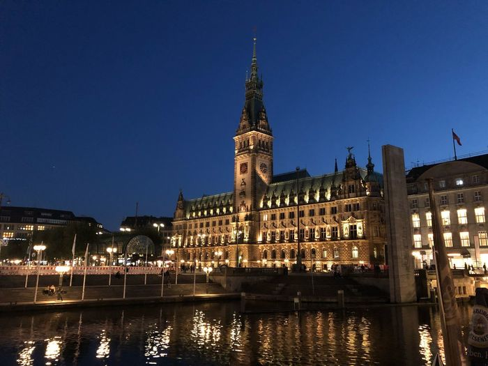 Rathaus Building Exterior Built Structure Architecture Illuminated Night Water Sky Travel Destinations Building City Clear Sky River Nature Tower No People Tourism Travel Waterfront Government Outdoors