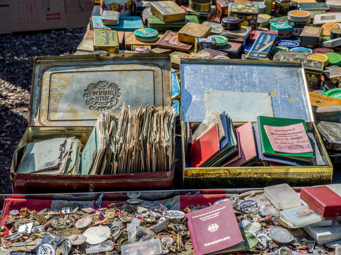 High angle view of books in market