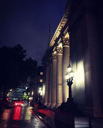 EyeEm LOST IN London Illuminated Night Architecture Built Structure Architectural Column Building Exterior Sky No People Statue Outdoors City Car Tail Light Red Light