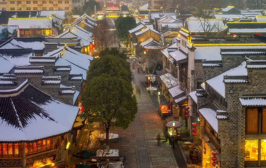 门东残雪 Built Structure City City Life High Angle View Night Outdoors Street Town Tree 南京 夜景 旅游 秦淮风光 老门东 雪夜来访