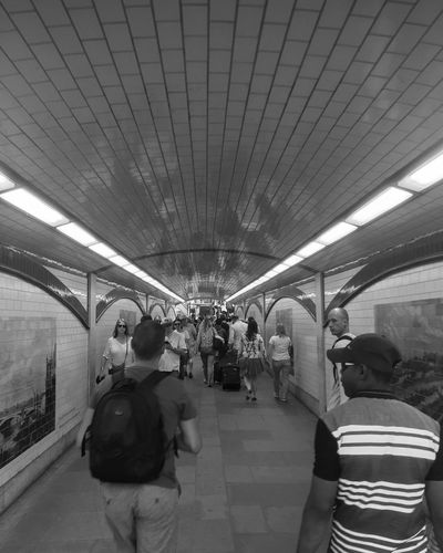 London Tunnels Real People Walking Modern Blackandwhite