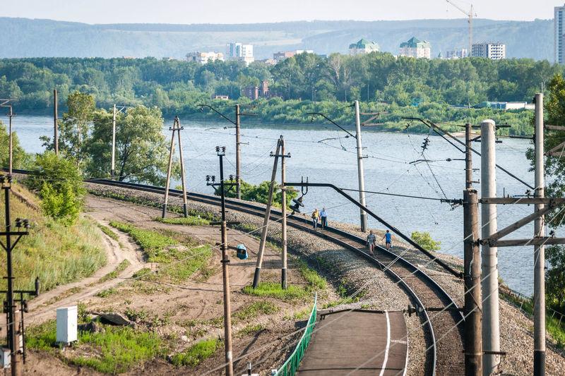 High angle view of railway track along river