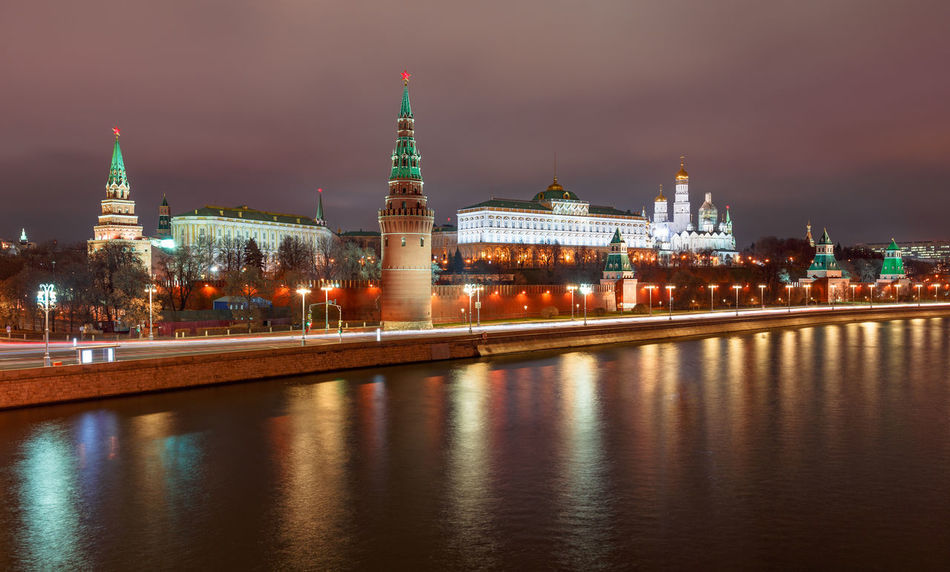 Night View over the Moskva River to the Kremlin in Moscow at night Building Exterior Built Structure Architecture Building Water Illuminated Reflection Travel Destinations Night City Long Exposure River Waterfront No People Outdoors Government Kremlin Kreml Moskva Nightscape Nightphotography Russia Politics And Government Scenics Panoramic