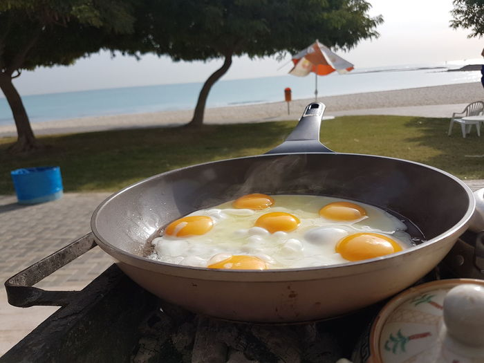Close-up of omelet preparing in pan