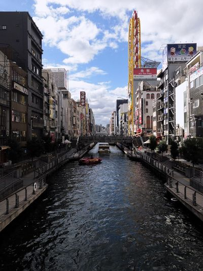 Dontonburi River River OSAKA Dontonburi Building Exterior Built Structure Architecture City Sky Cloud - Sky Nature Transportation Water