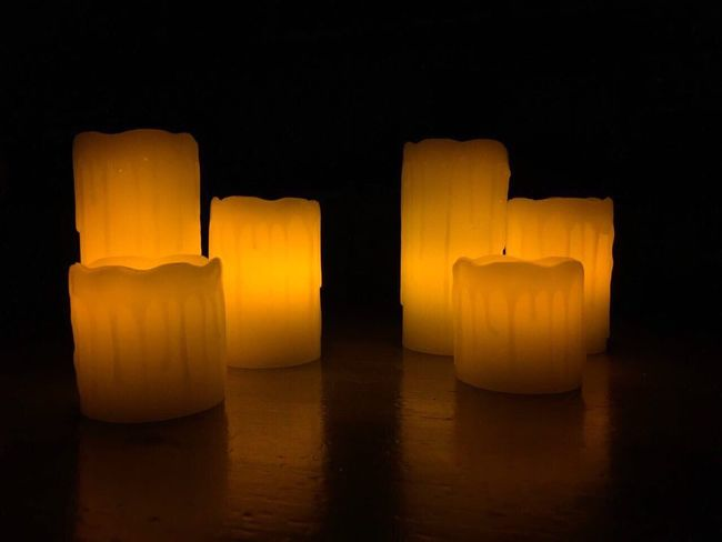 """""""Candle lights"""" Candles Lights Indoors  No People Dark Candle Lights Romantic Yellow Cylinder Black Background Black Sweden Godaminnen"""