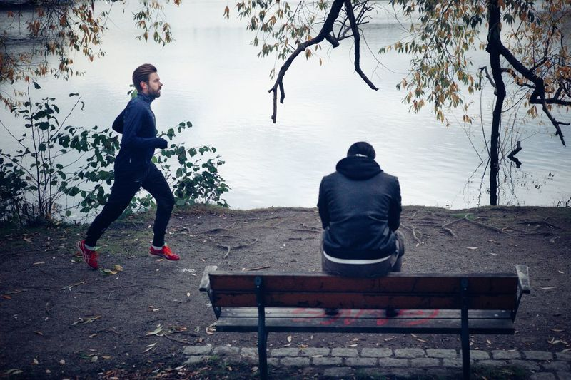 Lakeside Leica Urban Sport Exercise Red Shoes Running Streetphotography Bench Men Seat Two People Plant Tree Park Nature Adult People Lifestyles Park - Man Made Space Real People