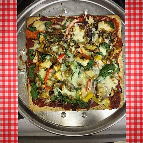 Dinner is served Makeyourown Pizza Chicken Onion Spinach Peppers MontereyJack Buildapizza