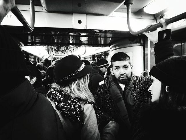 Travel Men Adult Women People Crowd Indoors  Day Young Adult Real People Milano Metro Metro Photo Blackandwhite Blackandwhitephotography Streetphotography My Year My View 24mm Hat