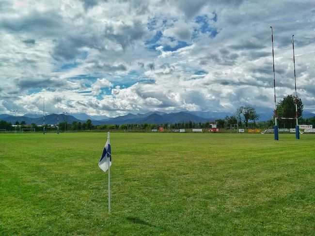 Grass Sport Full Length Leisure Activity Rear View Field Sky Cloud - Sky Landscape Green Color Rugbylife Playing Field Tranquil Scene Tranquility Grassy Cloudy Competition Outdoors Day Quiet Moments Playing Lifestyles RugbyIsLife Rugby Field Rugby Pitch