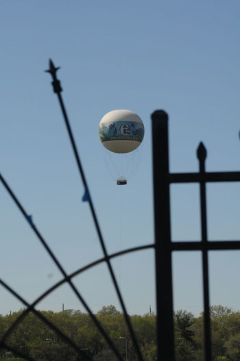 Balloon Barbed Wire Blue Boathouse Row Cable Close-up Day Focus On Foreground Framed Center Of Interest Grass Hot Air Balloon Low Angle View Nature No People Outdoors Philadelphia Pennsylvania Philadelphia Zoo Pole Safety Security Sky Tranquility Wrought Iron