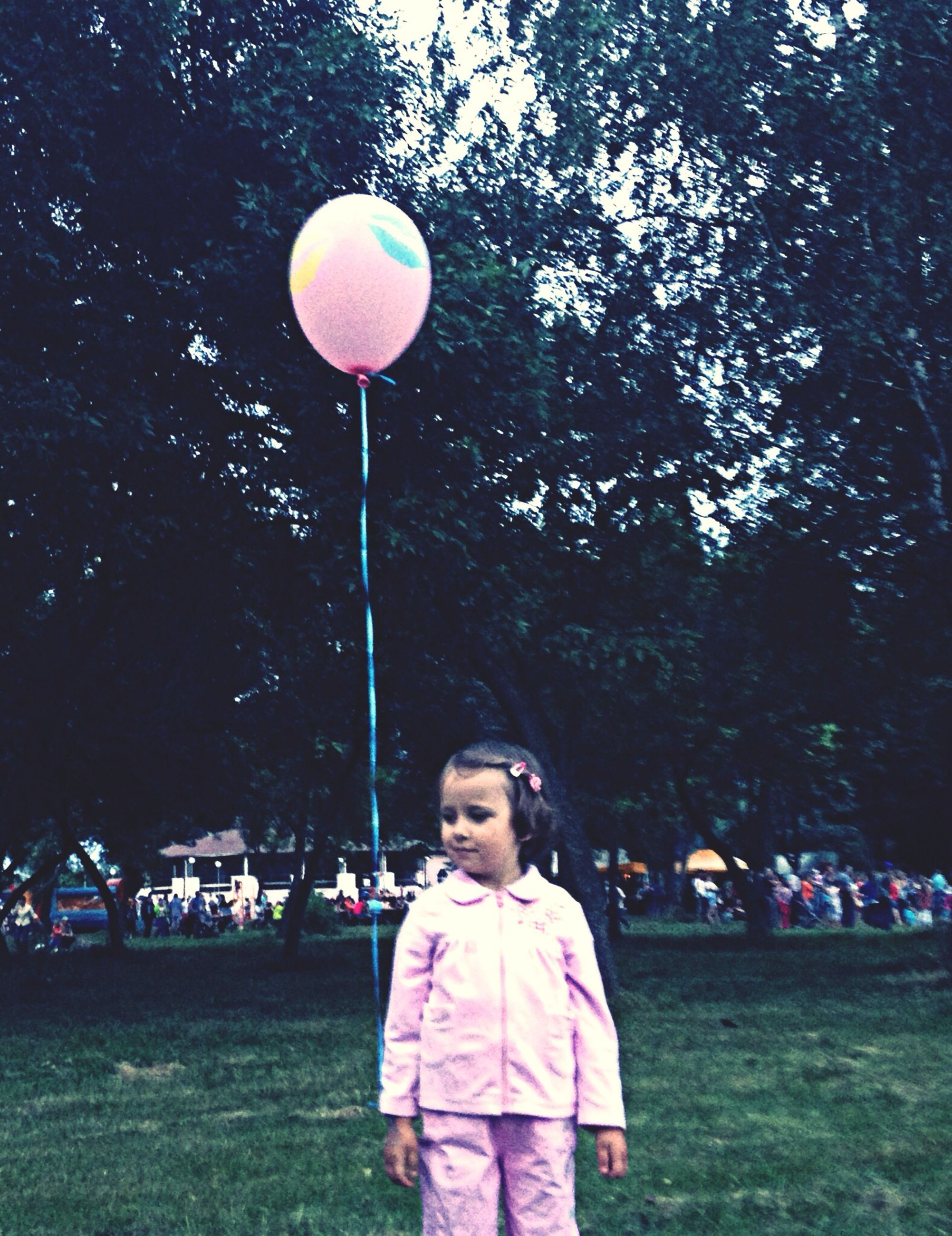 lifestyles, leisure activity, childhood, casual clothing, tree, girls, standing, elementary age, holding, balloon, boys, rear view, enjoyment, person, outdoors, day, full length, sunlight