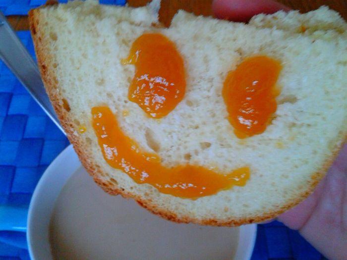 Love Breakfast Coffee...milk And Smile Bread And Jam Sweet Breakfast
