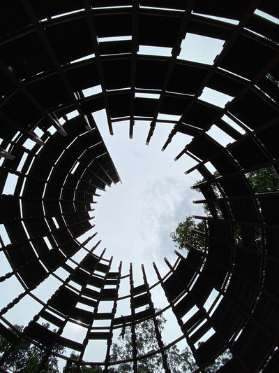 Low angle view of spiral ceiling