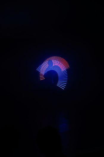 Illuminated light painting in the dark