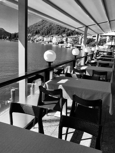 Lugano, Switzerland Scenery Outdoor Cafe Riviera Lakeside Views Shimmering Water