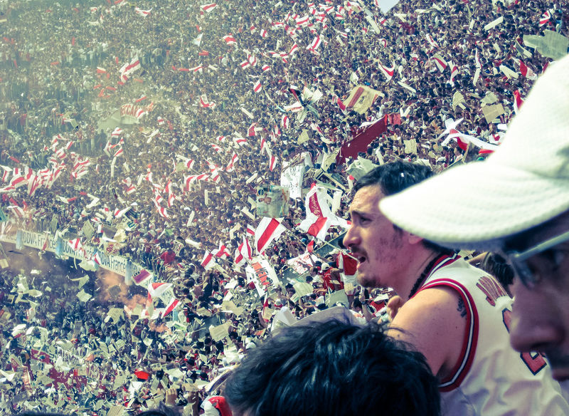 "During the ""Superclásico"" in Buenos Aires: River vs. Boca. Maybe the biggest rivalry in sports. Crowd Culture EyeEm Gallery Fans Football Football Fever Leisure Activity Outdoors Passion Personal Perspective River Plate Soccer Sport Sports Photography The Portraitist - 2016 EyeEm Awards The Street Photographer - 2016 EyeEm Awards Unrecognizable Person My Year My View"