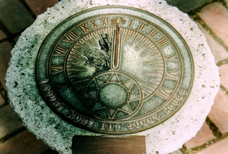 old sundial which counts none but sunny hours Sundial Sunny Brass Time Keeping Time Counting The Minutes Passing Time Sunshine