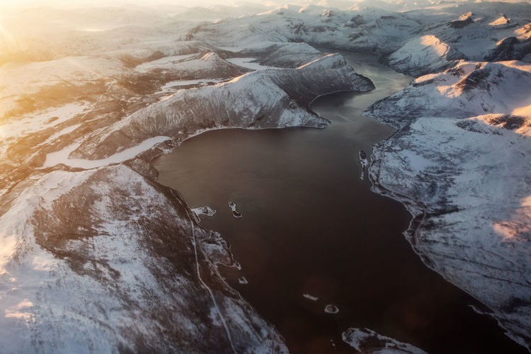 Aerial view of mountain during sunrise
