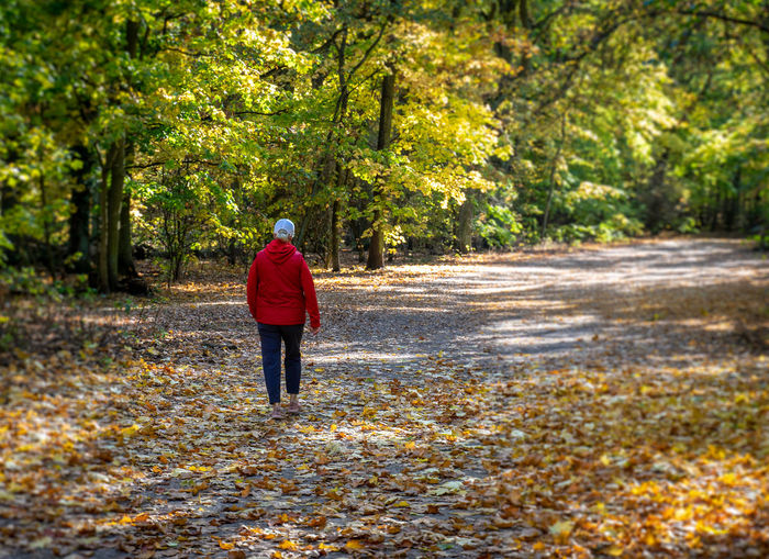 Rear View Of Woman Walking On Footpath By Trees During Autumn