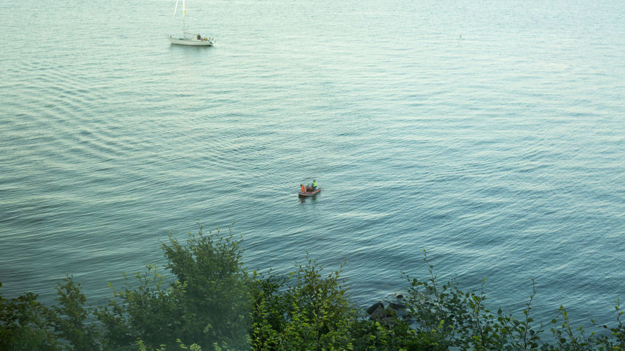High angle view of man in lake