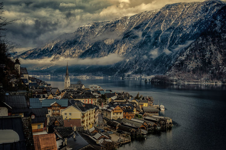 Architecture Built Structure Cloud - Sky Commercial Dock Day Hallstatt, Austria Harbor Mountain Nautical Vessel No People Outdoors Scenics Sea Sky Travel Destinations Water