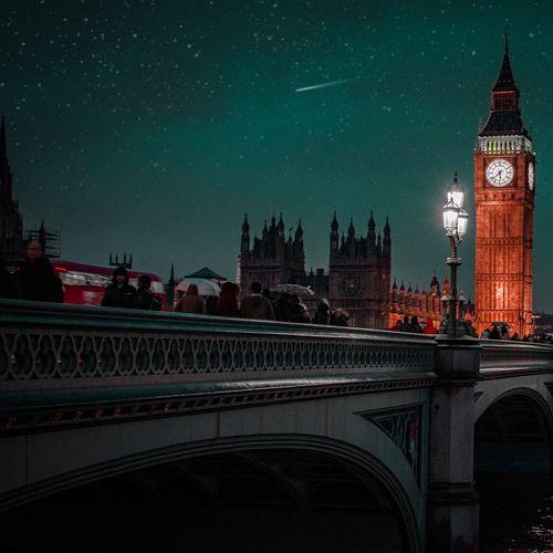 London lit up at night