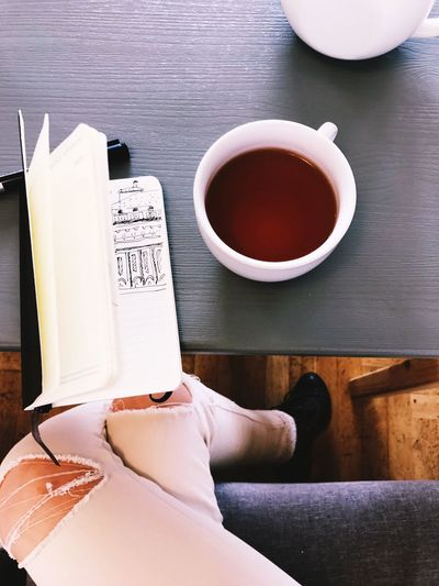 Indoors  Coffee Cup Table High Angle View Drink Refreshment Coffee - Drink Food And Drink Day No People Close-up Sketch Sketchbook Cafe Tea Girl