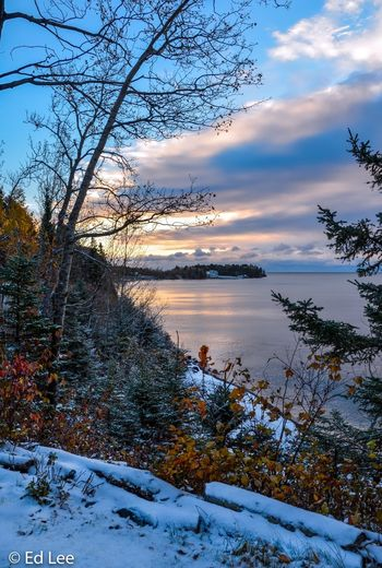 First snow Minnesota Lake Superior Sunrise_sunsets_aroundworld Sunrise Fall Colors Streamzoofamily Landscape_Collection Malephotographerofthemonth Sky Plant Tree Cloud - Sky Beauty In Nature Scenics - Nature Tranquility Nature Winter Tranquil Scene Water Snow Outdoors