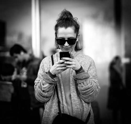 B&w Front View Happiness Happıness Joy Portrait Smartphone Smile Street Photography Woman