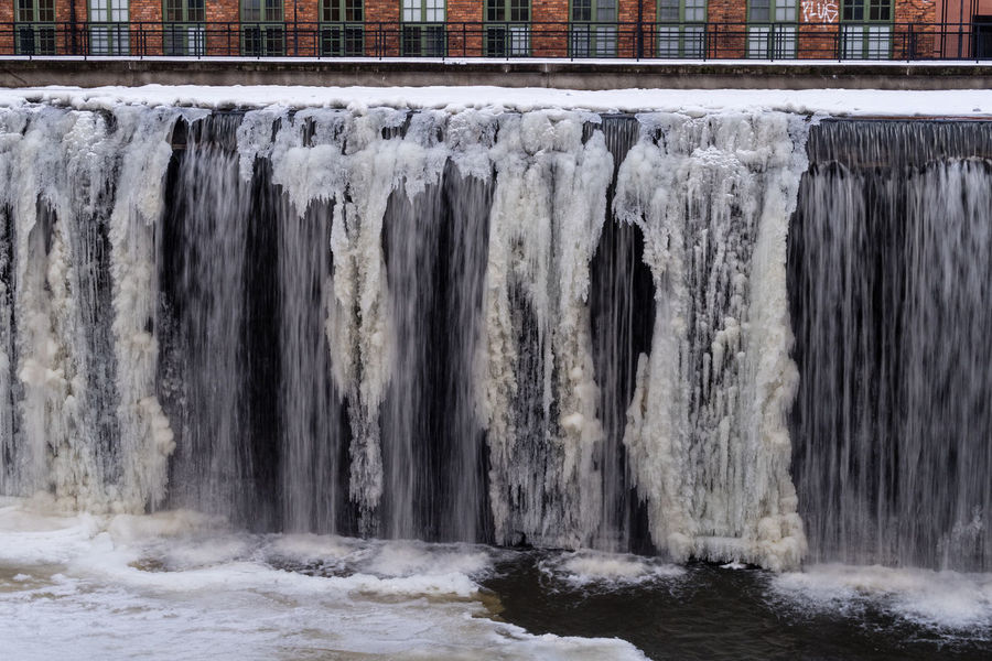 Ice Motala Ström Urban Nature Architecture Bricks Built Structure Close-up Cold Cold Temperature Day Nature No People Outdoors Stream Water Waterfall Winter