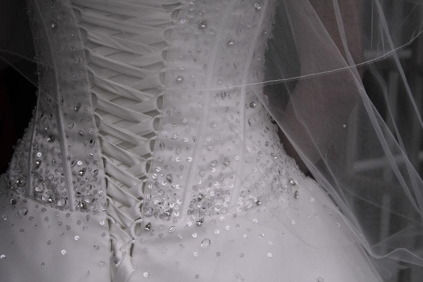 'Bridal gown details' Bridal Gown Brides Dress Details Close-up Diamonte Indoors  Laced Up No People Sequins Sparkle Wedding Wedding Attire Wedding Details Wedding Dress White Dress
